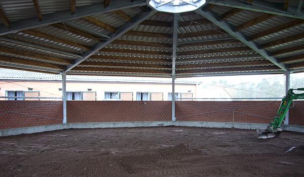 Reitplatzbau Horstmann Longierhalle Boden einbringen
